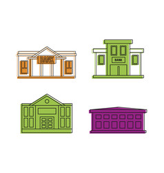bank icon set color outline style vector image
