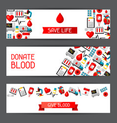 Banners with blood donation items medical and vector