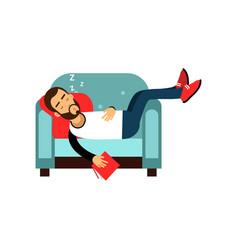 bearded man sleeping on armchair with book vector image