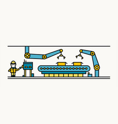 belt conveyor equipped with robotic arms conveying vector image