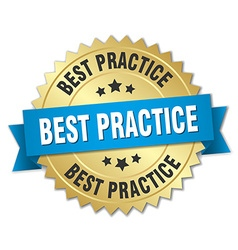 Best practice 3d gold badge with blue ribbon vector