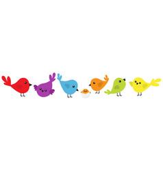 bird icon set line cute cartoon colorful vector image