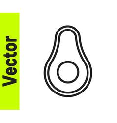 Black line avocado fruit icon isolated on white vector
