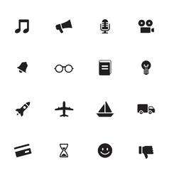 Black simple flat icon set 5 vector