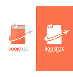 Book and airplane logo combination vector