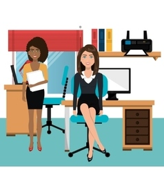 Businesswomen in workspace isolated icon design vector