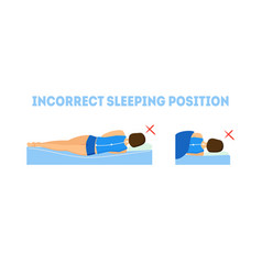 cartoon incorrect sleeping body posture vector image