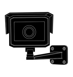Cctv security camera front view black outline vector