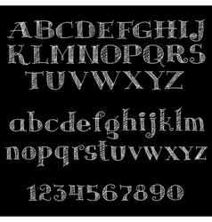 chalk font or type alphabet on blackboard vector image