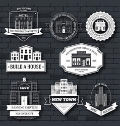 city buildings label template of emblem element vector image