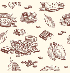 cocoa tree chocolate beans seamless pattern vector image