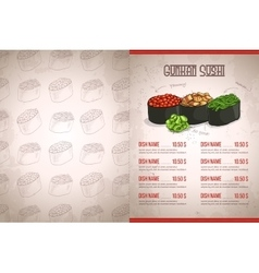 Color horisontal gunkan sushi menu vector image