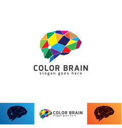 colorful brain logo template vector image