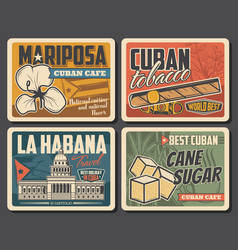 Cuba travel landmark and tourism retro posters vector