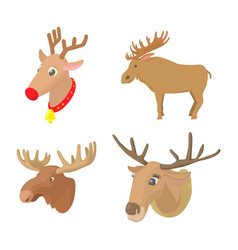 Deer icon set cartoon style vector