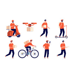 Delivery man service boy courier package young vector