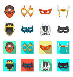 Design of hero and mask symbol collection vector