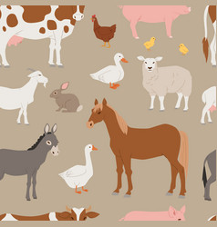 Different home farm animals and birds like vector
