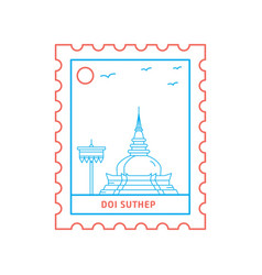 doi suthep postage stamp blue and red line style vector image