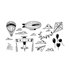Doodle air transport set cartoon travel icons vector