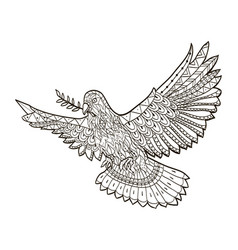 dove of the world fly with a branch in its beak on vector image