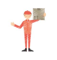drawing man post mail box vector image