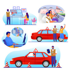 Driving school set flat isolated vector
