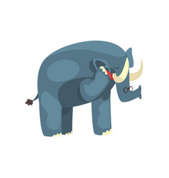 Elephant talking on the phone cute animal cartoon vector