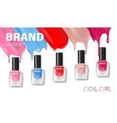 Fashion nail lacquer assortment with beautiful vector