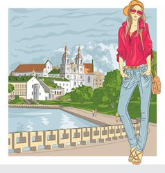 Fashion stylish girl in old city vector