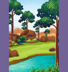 forest scene with river and field vector image