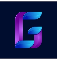 G letter volume blue and purple color logo design vector