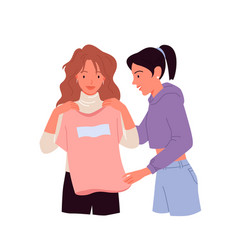 Girl trying choosing casual clothing in retail vector