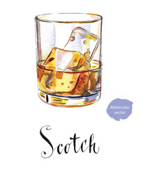 Glass scotch whiskey brandy with ice cubes vector