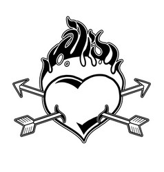 Graphic flaming heart pierced by two arrows vector