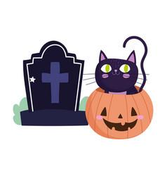 happy halloween inside pumpkin and tombstone vector image