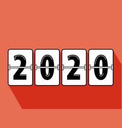 Happy new year 2020 flip clock style vector