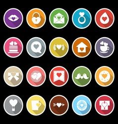Heart element icons with long shadow vector