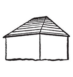 Hip style roof type two trapezoidal ones vintage vector
