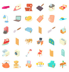 Home icons set cartoon style vector