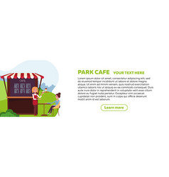 horizontal web banner design for park cafe young vector image