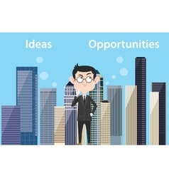 Ideas vs opportunities concept with businessman vector