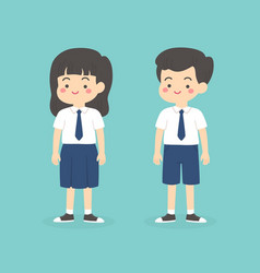 Indonesian junior high school uniform kids cartoon vector