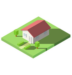 isometric of house on the grass with garden for vector image