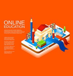 isometric online education application vector image