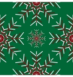 Large snowflakes on green background vector image
