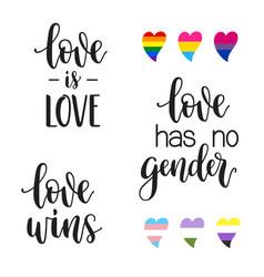 lgbt love slogans lettering vector image