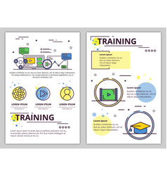 line art training poster banner template vector image