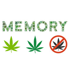 Memory caption mosaic of hemp leaves vector