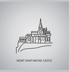 Mont saint-michel castle icon on grey background vector